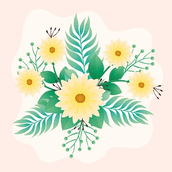 美しい黄色の花と葉の緑の装飾的なアイコンのデザイン