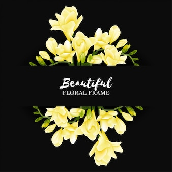 Красивая желтая фрезия цветочная рамка