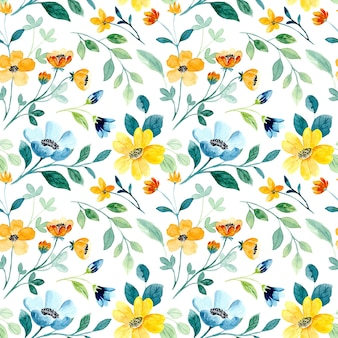 美しい黄緑色の花の水彩画のシームレスなパターン