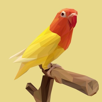 Beautiful yellow lovebird with lowpoly style