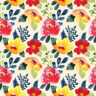 Beautiful yellow red flower watercolor seamless pattern