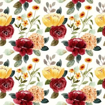 美しい黄色い赤い花の水彩画のシームレスなパターン
