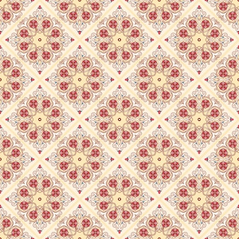 Beautiful yellow vintage pattern with leaves and flowers on a beige background