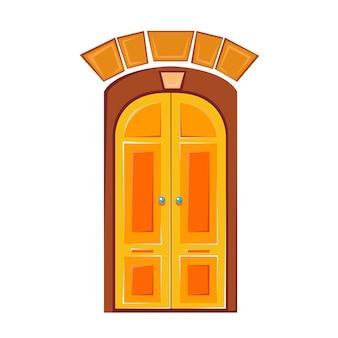 Красивые желтые деревянные двери векторные иллюстрации в стиле мультфильмов для детей изолированные весело клипарт