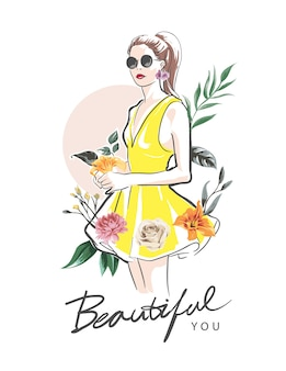 Beautiful you slogan with girl hand drawn and colorful flowers illustration