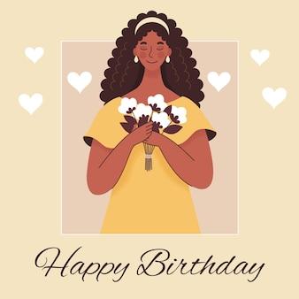 그녀의 손에 꽃의 꽃다발을 들고 아름 다운 젊은 아프리카 여자