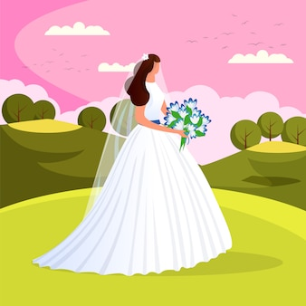 Beautiful young bride with wedding flowers bouquet