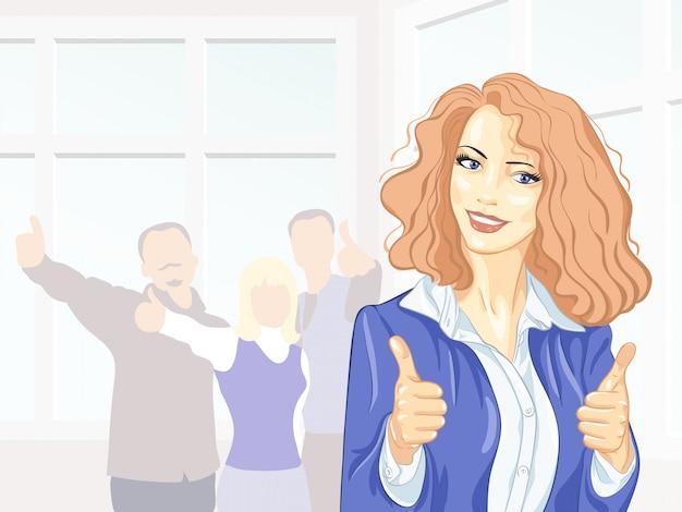 Красивая молодая деловая женщина с коллегами с большими пальцами руки вверх в офисе улыбается