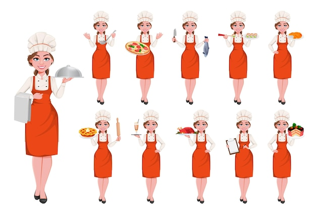 Beautiful young chef woman, set of eleven poses. pretty cook lady in professional apron and hat