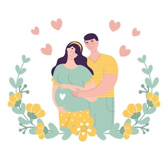 아기를 기대하는 아름 다운 젊은 부부