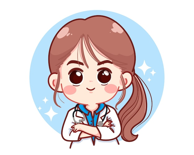 Beautiful young female doctor crossed arms cartoon illustration