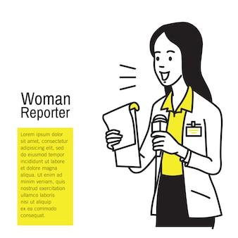 Красивая молодая женщина-репортер