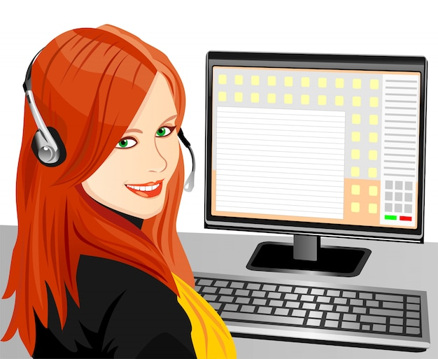 Beautiful young girl brown telephone operator in headphones in the workplace