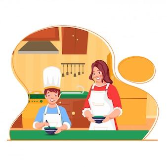 부엌 집에서 음식을 만드는 어린 소년을 돕는 아름 다운 젊은 여자. 포스터로 사용할 수 있습니다.