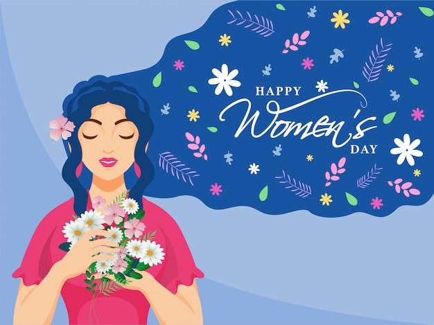 행복 한 여성의 날 축 하 개념에 대 한 파란색 배경에 꽃을 들고 아름 다운 젊은 여자.