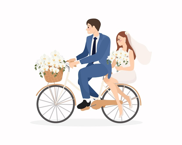 Beautiful young just married wedding couple ride bicycle isolated