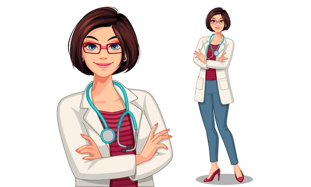 Beautiful young lady doctor vector illustration