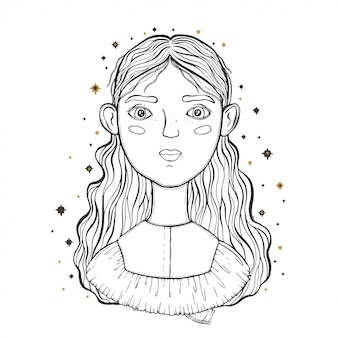Beautiful young teenage girl, face foreground.  sketch for tattoo, isolated print on t-shirt.