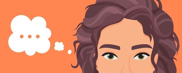 Красивая молодая женщина персонаж думает о проблеме с точками в выражении мысли пузырь