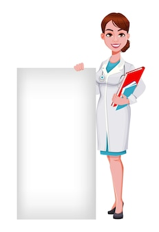Beautiful young woman doctor standing near blank placard