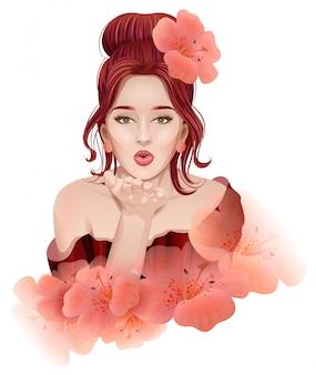 Красивая молодая женщина делает воздушный поцелуй Premium векторы