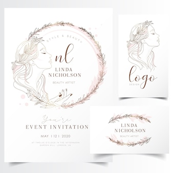 Beautiful young woman in flower wreath for event invitation template