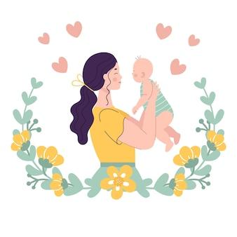 아기를 들고 아름 다운 젊은 여자