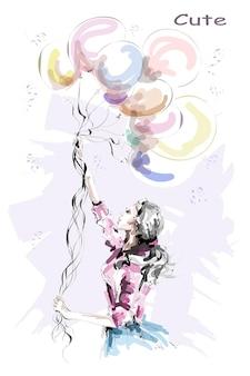 カラフルな風船を持っている美しい若い女性