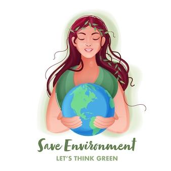 保存環境の概念のための白い背景の上の地球を保持している美しい若い女性。