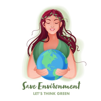 Beautiful young woman holding earth globe on white background for save environment concept.