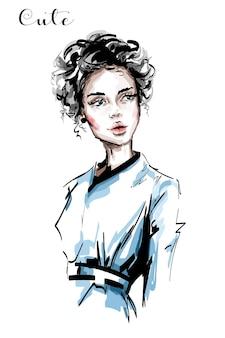 Красивая молодая женщина иллюстрация