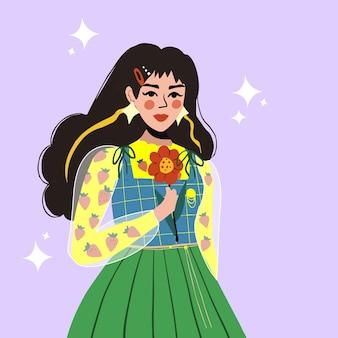 花を持っているモダンな韓国風の美しい若い女性。かわいい女の子。ベクトルイラスト。