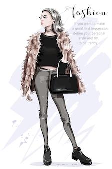 毛皮のジャケットのイラストで美しい若い女性