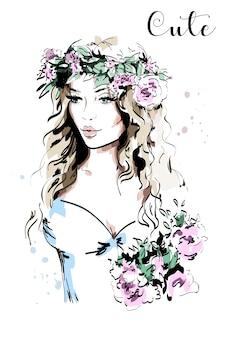 花輪の美しい若い女性。