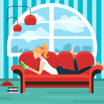 Beautiful young woman reading book on sofa. lady and house interior, lying sexy girl, wisdom and relax