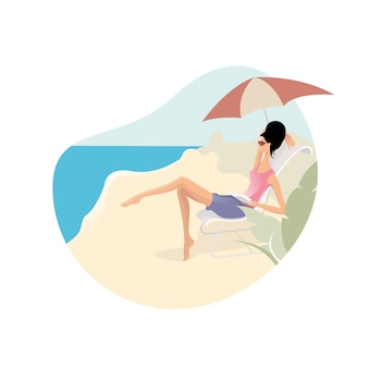 Beautiful young woman sitting under umbrella around sea beach ocean for relax, enjoying summer on beach concept