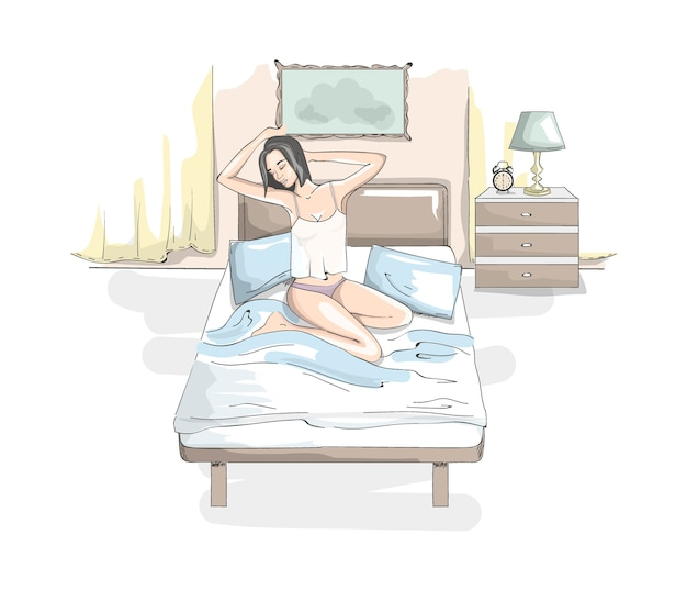 Beautiful young woman in underwear strecthing up in the bed after a sleep. pretty girl relaxing on the bed in her bedroom.   illustration