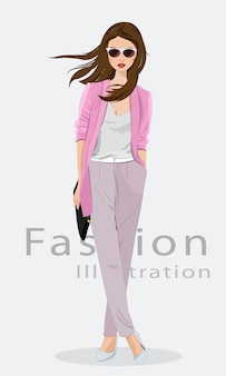 Beautiful young woman wearing fashion clothes, glasses and with bag. fashion model.  illustration .