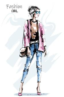 가방 아름 다운 젊은 여자.