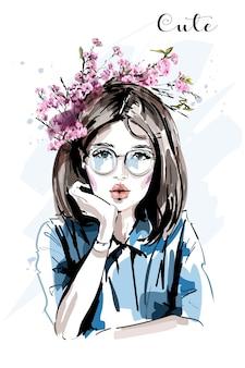 眼鏡を持つ美しい若い女性 Premiumベクター