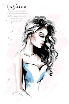 Красивая молодая женщина с длинными волосами иллюстрации Premium векторы
