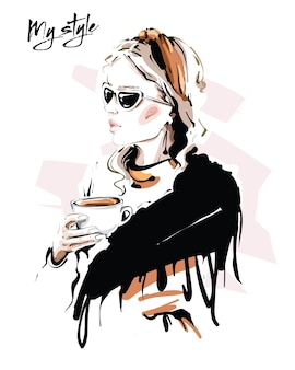 Beautiful young woman with scarf fashion woman with coffee cup