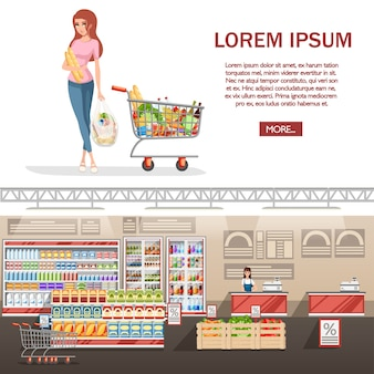 Beautiful young woman with shopping cart full of packages with vegetables and fruits.