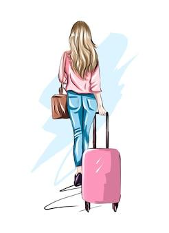 가방을 든 아름다운 젊은 여성 세련된 소녀는 현실적인 컬러 드로잉을 여행합니다.