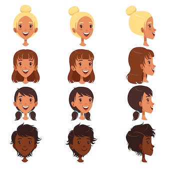 Beautiful young women with various hair style set, people avatars  illustrations