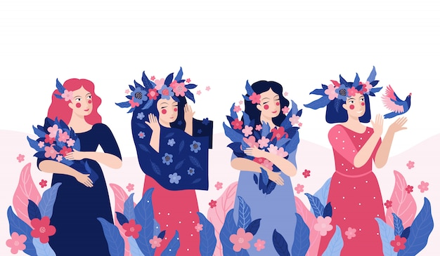 Beautiful young women with wreaths of flowers and bouquets