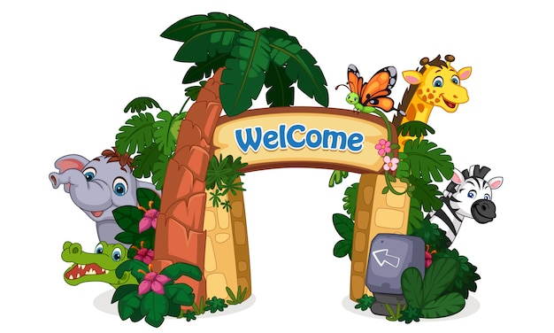 Beautiful zoo entrance illustration