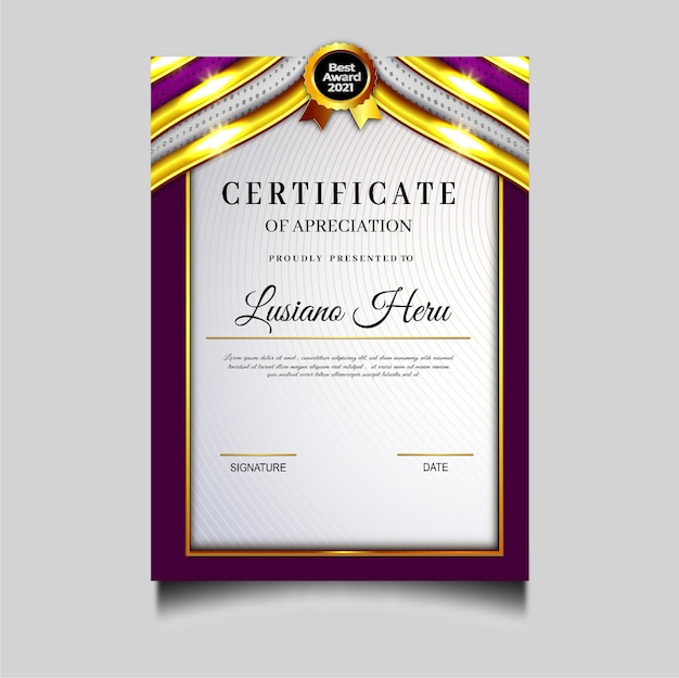 Beautifull diploma certificate archievement template design