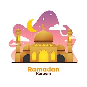 밤에 라마단 카림을위한 beautifull 평면 모스크