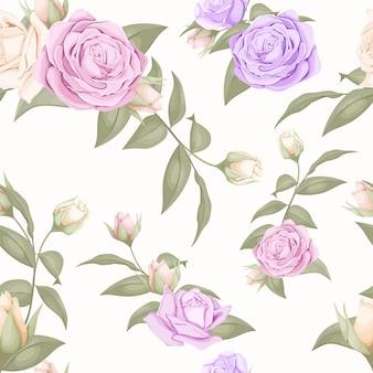 バラと葉を持つ美しい花のシームレスなパターン